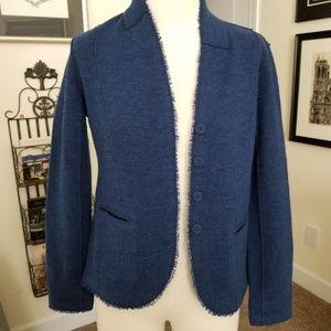 Eileen Fisher wool jacket XS blue EUC